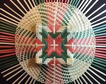 Black Ash Mandala Basket Weaving, hand woven basket, wall art, conversation piece, shadow box wall art