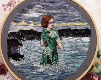 Hand Embroidered Bathing Woman Seascape Thread Painting