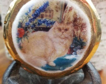 "Hippity Vintage Cat Necklace. Just Over 18"" Hanging Length. 'Sand Stone' Appearance. Hippity Painting With Small House in Background."