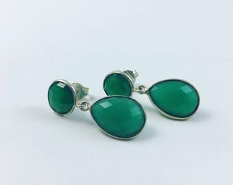 Green Quartz circle drop earrings