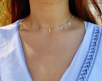 Dainty Gold Choker / Gold Leaf Choker / Choker Necklace / 14k plated Dainty Choker / Dainty Drop Choker / Gift Idea / Bridesmaid Gift