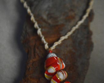 Necklace with spiral Glass Beads!