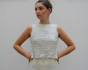60s Wippette White Sequin Open/Button Back Top