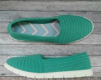 Handmade Shoes, Crochet Women's Shoes, Light, Eco friendly shoes Beautiful green