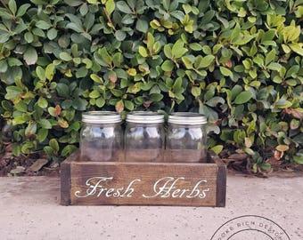 mason jar herb garden, herb garden, mason jar planter box, planter box mason jar, rustic wood planter, farmhouse style mason jar, rustic