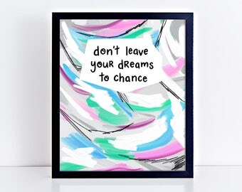 """Dream Quotes - Inspiring Words - Entrepreneur Gift - Classroom Sign - Handlettered Quote - Colorful Artwork - """"Dreams"""" by Robyn Petrik"""