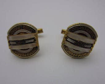 Vintage Damascene Mens Cuff Links White Lucite Curved Inlay Black Silver Enamel Gold Tone Metal 1970s Imitation Mother Of Pearl Cufflinks