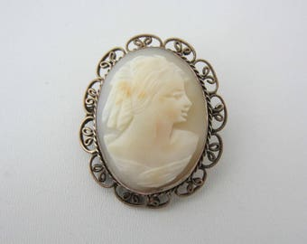 Vintage Jewellery Carved Shell Cameo Brooch Pin Or Pendant Classical Profile Female Filigree Bronze Tone Metal Mount Frame 1950s 1960s