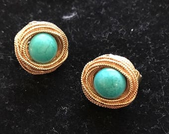 Vintage Faux Turquoise Clip On Earrings