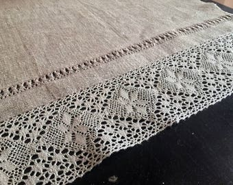table runner with lace-62 inc-grey linen-for parties, BBQ's, everyday-natural organic-easter table runner-linen 100%