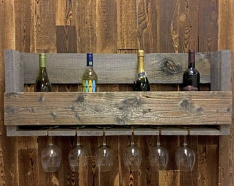 Reclaimed Wood Wine Rack Made from Wyoming Snow Fences