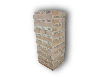 Giant Tumble Blocks | 54 2x4 Lifesize Wood Block Game |Jumbo Yard Game | Wedding Guest Book | Tailgate Game | Reception Game | Wood Towers