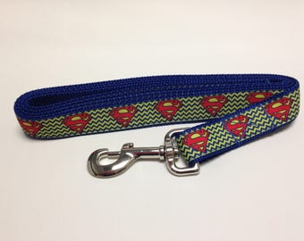 Blue Superman Inspired Dog Leash, Blue Leash, Superman Inspired Leash, Heavy Duty Leash, Dog Leash