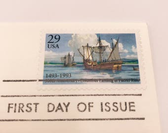 1 Vintage 1993 Christopher Columbus Landing in Puerto Rico 500th Anniversary First Day of Issue Envelope with Used Stamp