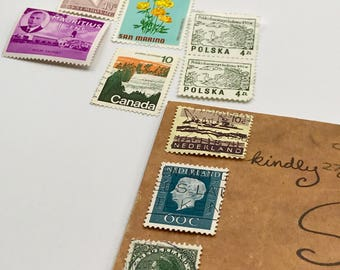 9 used vintage Assorted Foreign vintage postage stamps | Perfect for scrapbooking, stamp collecting, snail mail art, and crafting