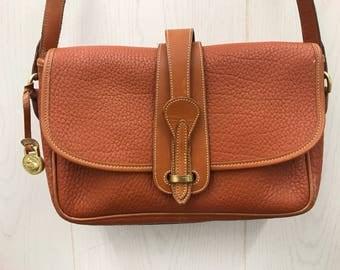 Vintage British Tan Brown Pebble Leather Purse Satchel Dooney & Bourke Shoulder Bag