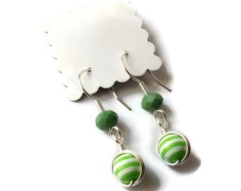 Earrings elegant wire wrap beads striped green/white and green faceted beads