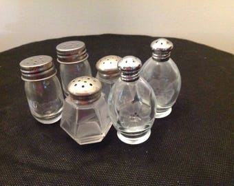 Lot of three sets of etched glass salt and pepper shakers