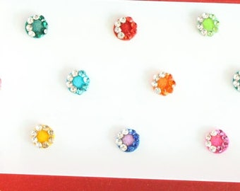 22 Colored Round Bindis,Velvet Colorful Bindis,Wedding Round Face Jewels Bindis,Bollywood Bindis,Self Adhesive Stickers Pack