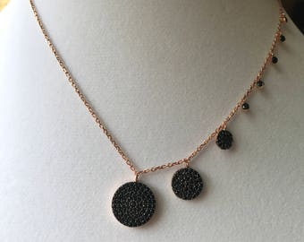 Black round Necklace - 925 Sterling Silver