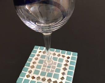 Mosaic tile coaster set