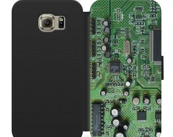 Geeky nerdy green circuit board flip wallet phone case for iphone 4 5 6 7 8 8 plus Samsung s2 s3 s4 s5 s6 s7 S8 S8 plus and more