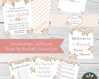 Floral Bridal Shower Invitation Set, Bridal Shower Decor, Bridal Shower Games, Printable Bridal Shower Decor, DIY Bridal Shower,