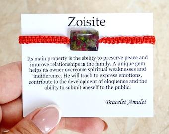 Green stone bracelet Zoisite bracelet Yoga bracelet Protection bracelet Zoisite jewelry Colorful bracelet Happiness bracelet Gift for her
