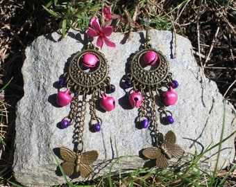 """Purple and pink bells and """"Dream D'AILLEURS"""" earrings"""