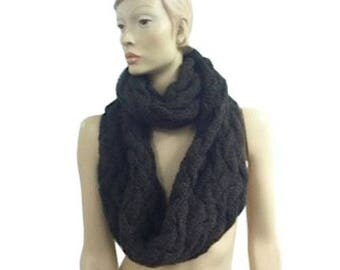 The Twist Infinity Twist Cable Knit Scarf (Brown)
