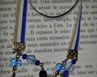 Blue and gold striped bookmark
