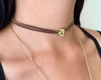 brown suede choker, boho festival jewelry