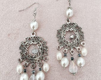 Pearl dangle drop chandelier wedding earrings Perlen Hochzeit Ohrringe