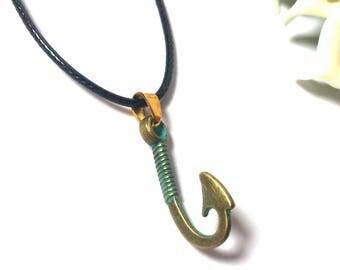 Necklace Bronze Pendant Anchor - Pendant Hook - Necklace sea - Leather Necklace - Necklace for Men - Necklace for Women - Necklace -Cadeau