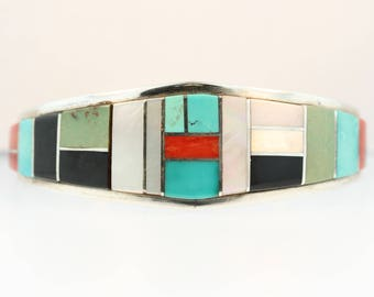Turquoise Coral Mother of Pearl Onyx Lapis Spiny Oyster Sterling Silver Native American Cuff Bracelet