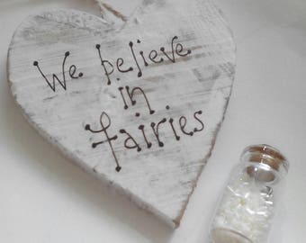 Heart plaque, Fairy room decor, We believe, fairy quote sign, girls bedroom decor, girl gift, fairy gifts,