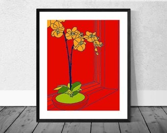 Orange Orchid Print, Flower Art, Home Decor, Still Life, Wallart, Interior Decor, Print, Giclee, Quirky, Colourful Illustration