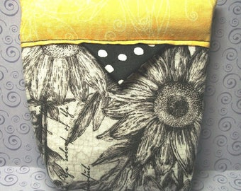 Snap Bag Change Purse Yellow Black Sunflowers