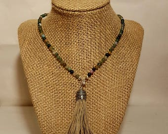 Handmade Stone Bead Necklace with Tassel
