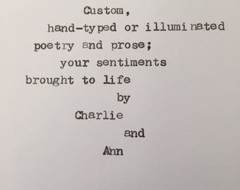 Custom Typewriter Poem on High-Quality Paper, Ready for Frame