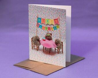 BABY HEDGEHOG BIRTHDAY Card - Baby Hedgehogs Birthday Party Card - Happy Birthday Hedgehog Party Card