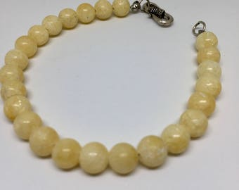 Yellow Jade and Sterling Silver Bracelet