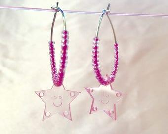 Smiley Star Hoop Earrings
