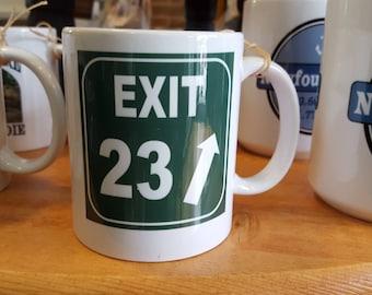 Exit 23 New Hampshire  Coffee Mug, Frosted Mug, Mason Jar
