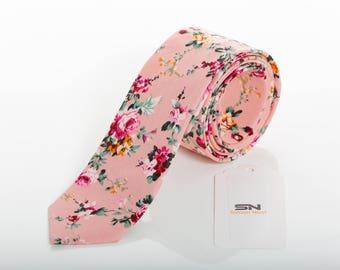 PERSONALIZED Pink Skinny Floral men's tie, Groomsmen wedding tie,Wedding Floral Ties, Floral ties men