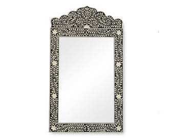 Camel Bone Inlay Crested Mirror Black
