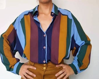 Shirt / oversized / Vintage / blue / green / yellow / made in France