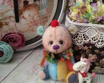 Clown teddy bear Circus 3,5 inch growth Ooak miniature Teddy bear Blythe friend Artist teddy bear gift Teddybear love gift For bolls Plush