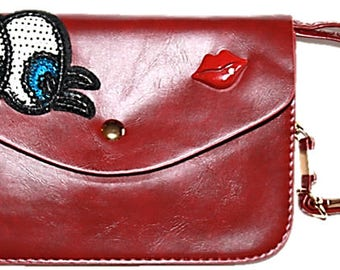 Ladies Leather Eye Lips Motif hand Clutch Shoulder Bags, 3 colours available