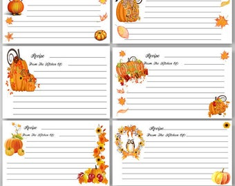Printable Autumn Recipe Cards, Fall Recipe, 4 x 6 recipe cards, Thanksgiving, Baking, Cooking, Digital Instant Download